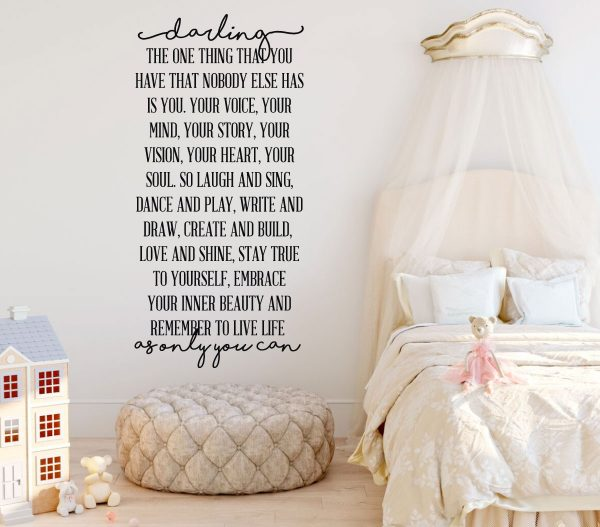 Wall Decor for Girls Vinyl Wall Art Decal Inspirational Quote for Bedroom Darling, As Only You Can