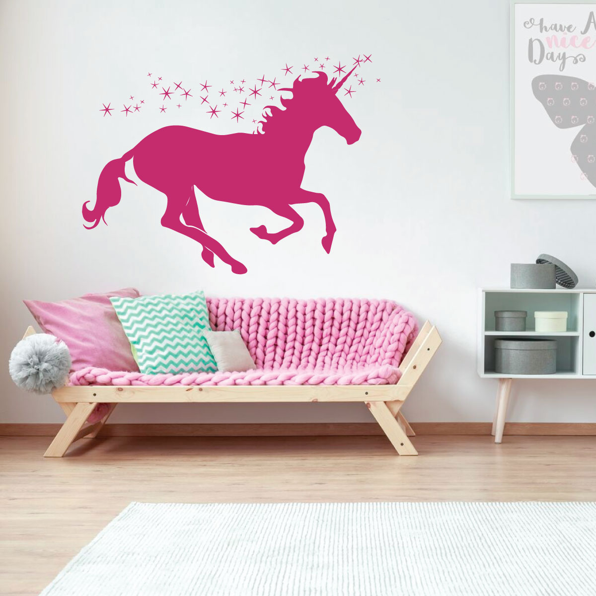 Unicorn wall decor personalized vinyl decal for girls for Unicorn bedroom decor