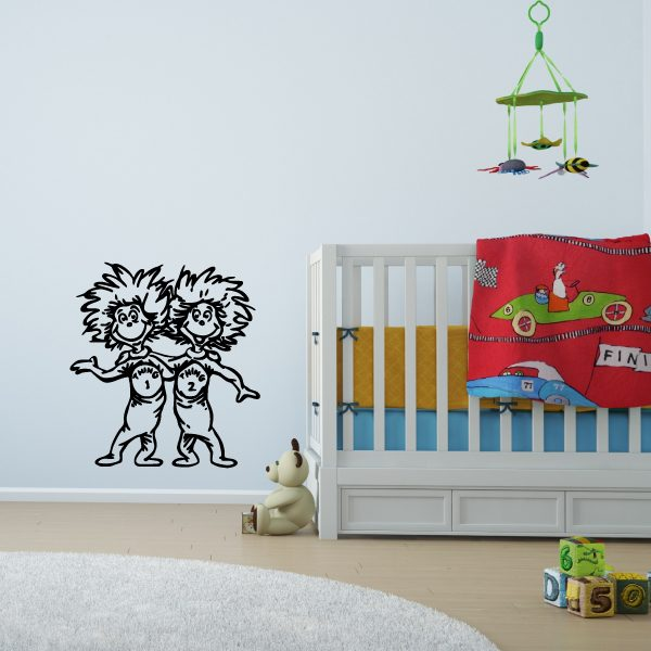 Thing 1 and Thing 2 Wall Decal The Cat in The Hat Dr. Seuss Characters Vinyl Home Decor for Kids Room, Nursery, Playroom