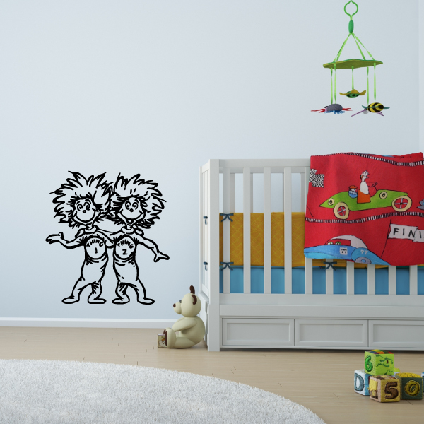 Thing 1 And Thing 2 Wall Decal The Cat In The Hat Dr Seuss Characters Vinyl Home Decor For Kids