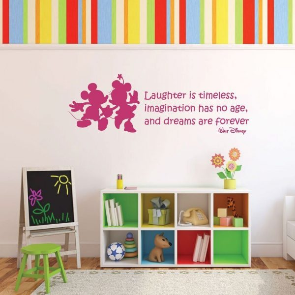 """Vinyl Wall Decal Walt Disney Quote With Mickey Mouse & Minnie Mouse: """"Laughter is timeless, imagination has no age, and dreams are forever."""" Inspirational Quotation"""