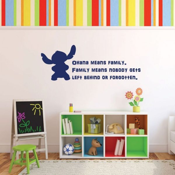 """Disney Stitch Wall Decal Vinyl Lettering Inspirational Quotation: """"Ohana means family. Family means nobody gets left behind or forgotten"""""""