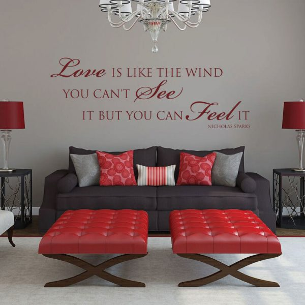 Vinyl Wall Decal Love Quote: Love Is Like The Wind Nicholas Sparks