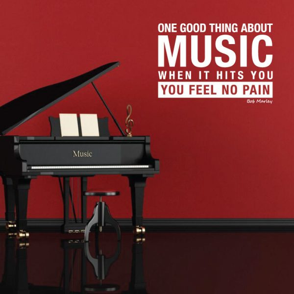 Vinyl Wall Decal Bob Marley Quote One Good Thing About Music