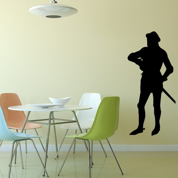 Medieval Knight Wall Decal Vinyl Silhouette of a Knight Drawing a Sword Decor