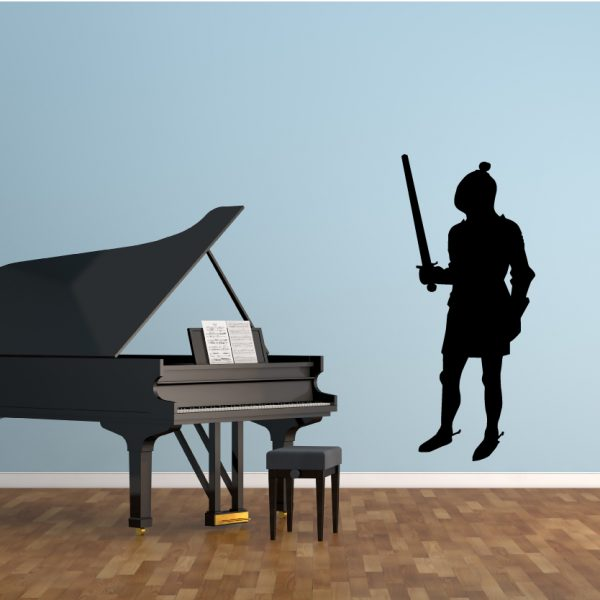 Medieval Vinyl Home Decor Silhouette With Raised Sword Playroom Decal