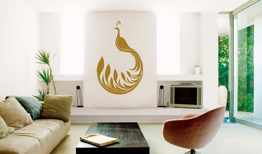 Peacock wall decal vinyl decor for home and more for Home decor and more