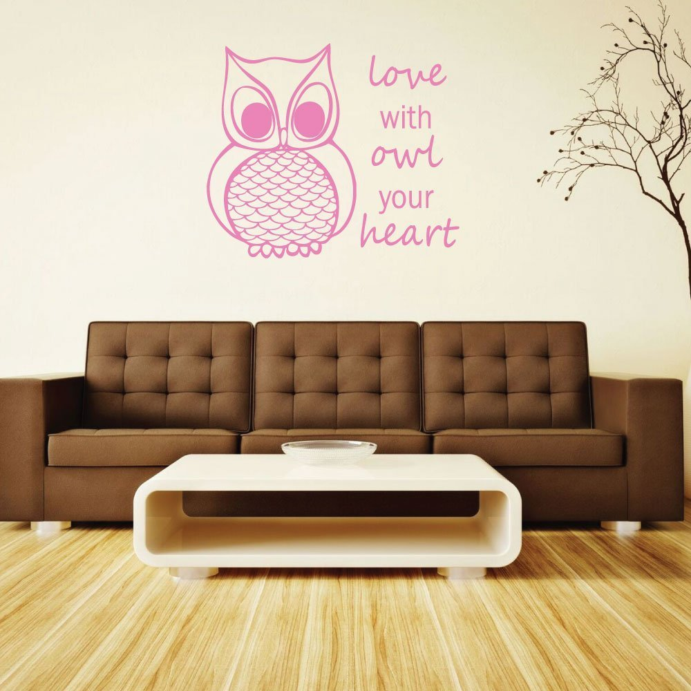 """Owl Wall Decal """"Love With Owl Your Heart"""" With Owl Image Vinyl Home Wall Decor"""