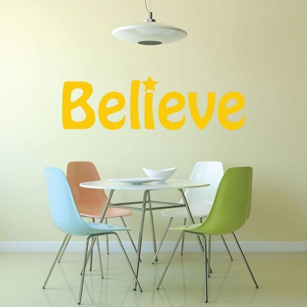 Believe Wall Decal With Star Vinyl Home And School Wall Decor