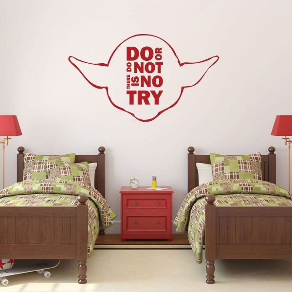 """Yoda Quotes Wall Decals """"Do Or Do Not There Is No Try"""" With Yoda Image Vinyl Home Wall Decor"""