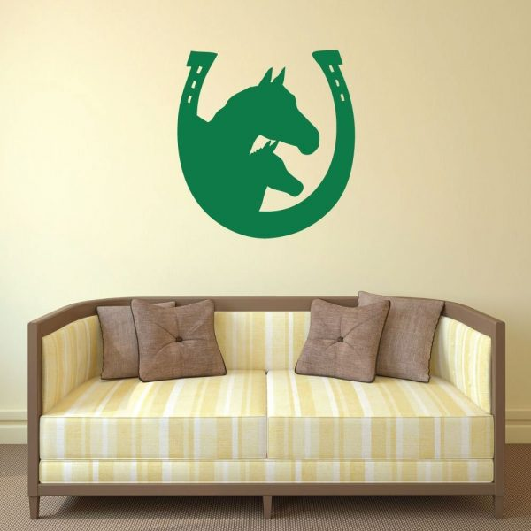 Horseshoe Wall Decal Mare & Foal In Horshoe With Image Vinyl Home Wall Decor