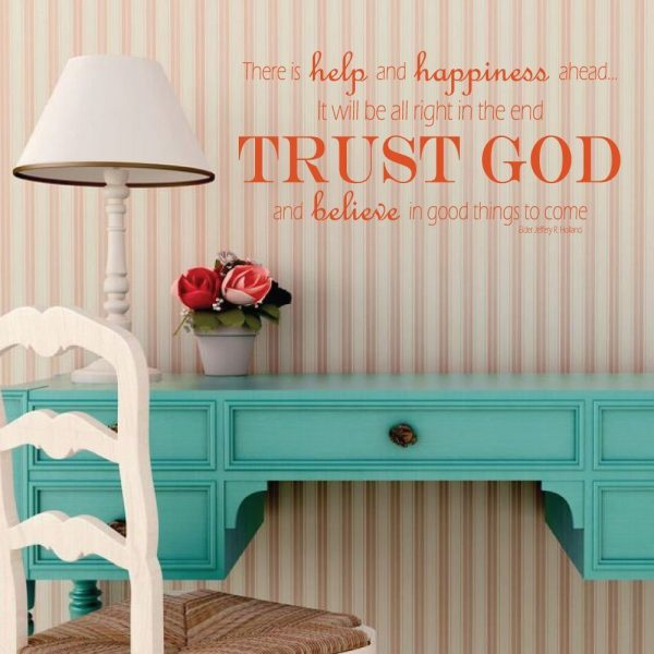 """Happiness Wall Decal """"There Is Help And Happiness Ahead """" Jeffrey R. Holland Quote Vinyl Home Wall Decor"""