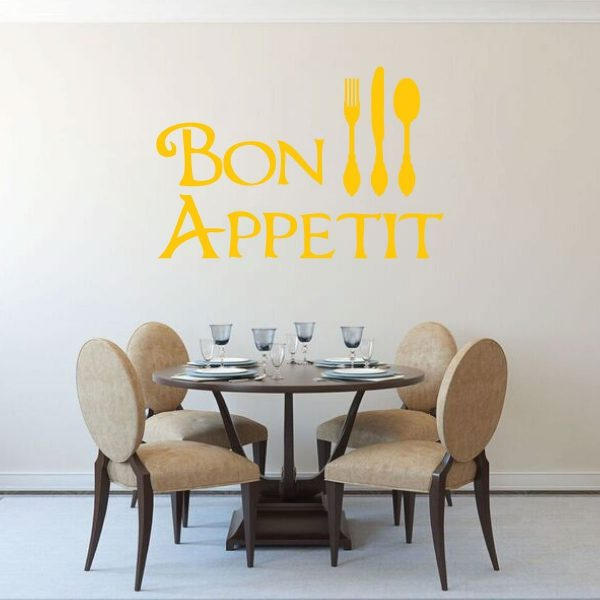 Wall Decal Bon Appetit With Fork, Spoon, & Knife Images For Vinyl Home Wall Decor