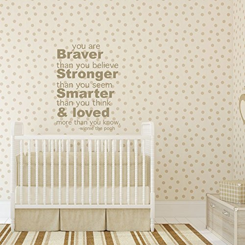 """Winnie The Pooh Wall Decal """" You Are Braver Than You Believe"""" Nursery Wall Decoration"""