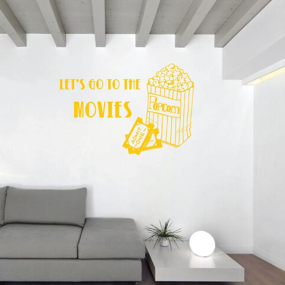 "Let S Go To The Movies: Movie Wall Decal ""Let's Go To The Movies"" With Popcorn Bag"