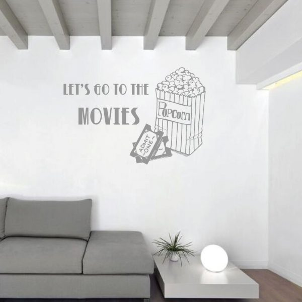 """Movie Wall Decal """"Let's Go To The Movies"""" With Popcorn Bag & Movie Tickets Vinyl Wall Decoration"""