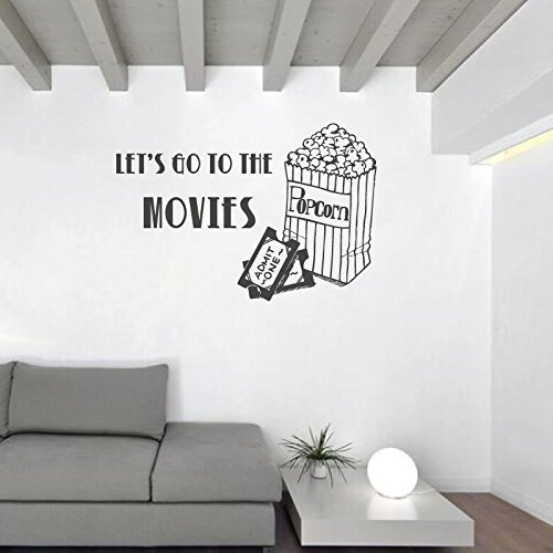 """Let S Go To The Movies: Movie Wall Decal """"Let's Go To The Movies"""" With Popcorn Bag"""