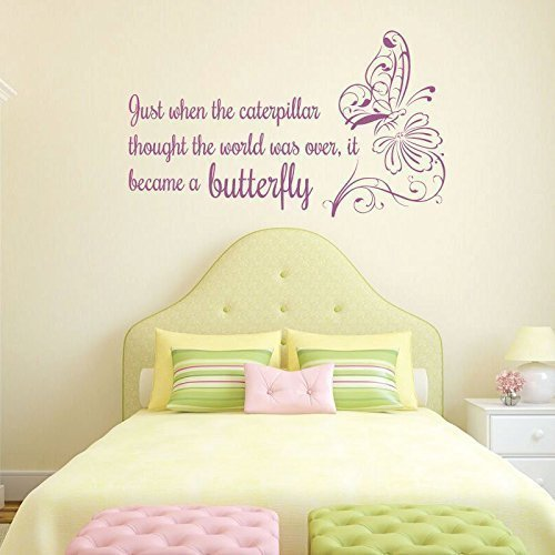"""""""Just When The Caterpillar Thought"""" Life Quote Vinyl Decoration With Butterfly"""