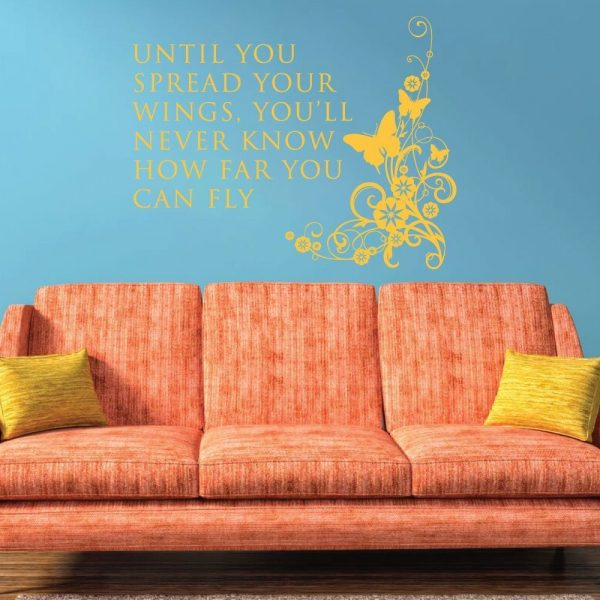 """""""Until You Spread Your Wings, You'll Never Know How Far You Can Fly"""" Vinyl Wall Decoration With Butterfly"""