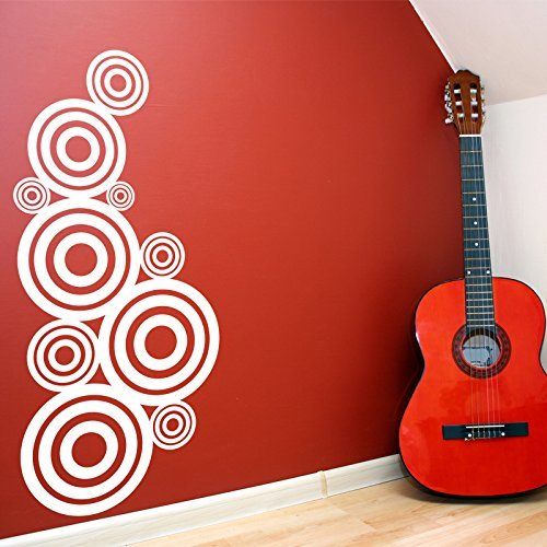 White Circles Targets Pattern Vinyl Wall Decals Home Decor Stickers Bubbles