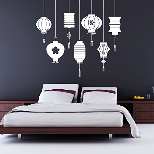 Vinyl Wall Decal Traditional Asian Chinese Oriental Lantern Decorations Home, Office, Restaurant Decor Stickers