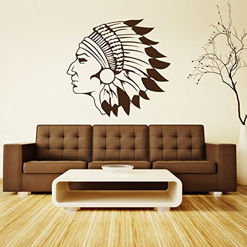 Indian Head Vinyl Wall Decal, Traditional Apache Native American Chief Home Decor Sticker