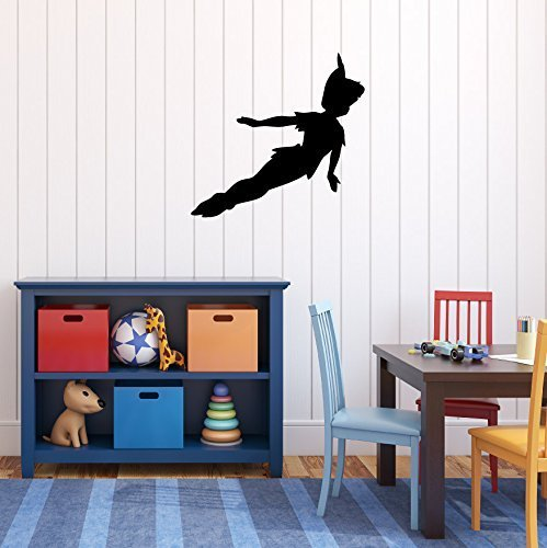 Peter Pan Wall Decal Vinyl Sticker, Disney Flying to Neverland Character Art Silhouette