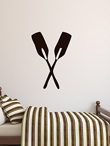 Boat Oars Wall Decor Crossed Paddles Vinyl Stickers for Rowing,