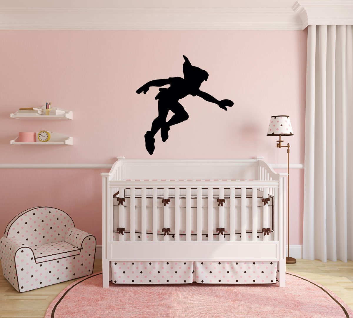 Peter pan wall decal vinyl sticker disney shadow character art silhouette for kids playroom for Disney wall stickers for kids bedrooms