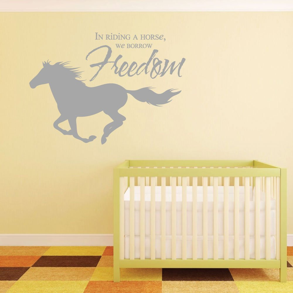 """Horse Wall Decals """"In Riding A Horse, We Borrow Freedom """" With Horse Image Vinyl Home Wall Decor"""