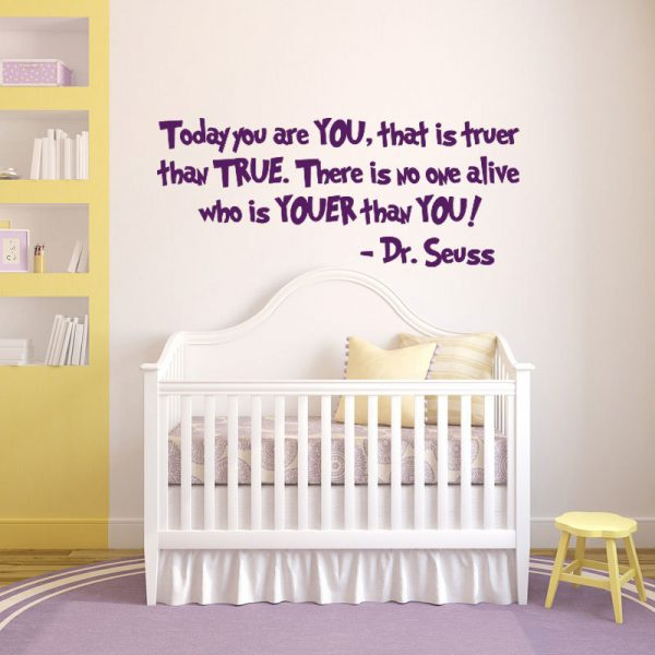 """Dr. Seuss Quote Wall Decal - """"Today You Are You"""" Vinyl Sticker Decor for Children's Bedroom, Playroom, or Baby Nursery"""