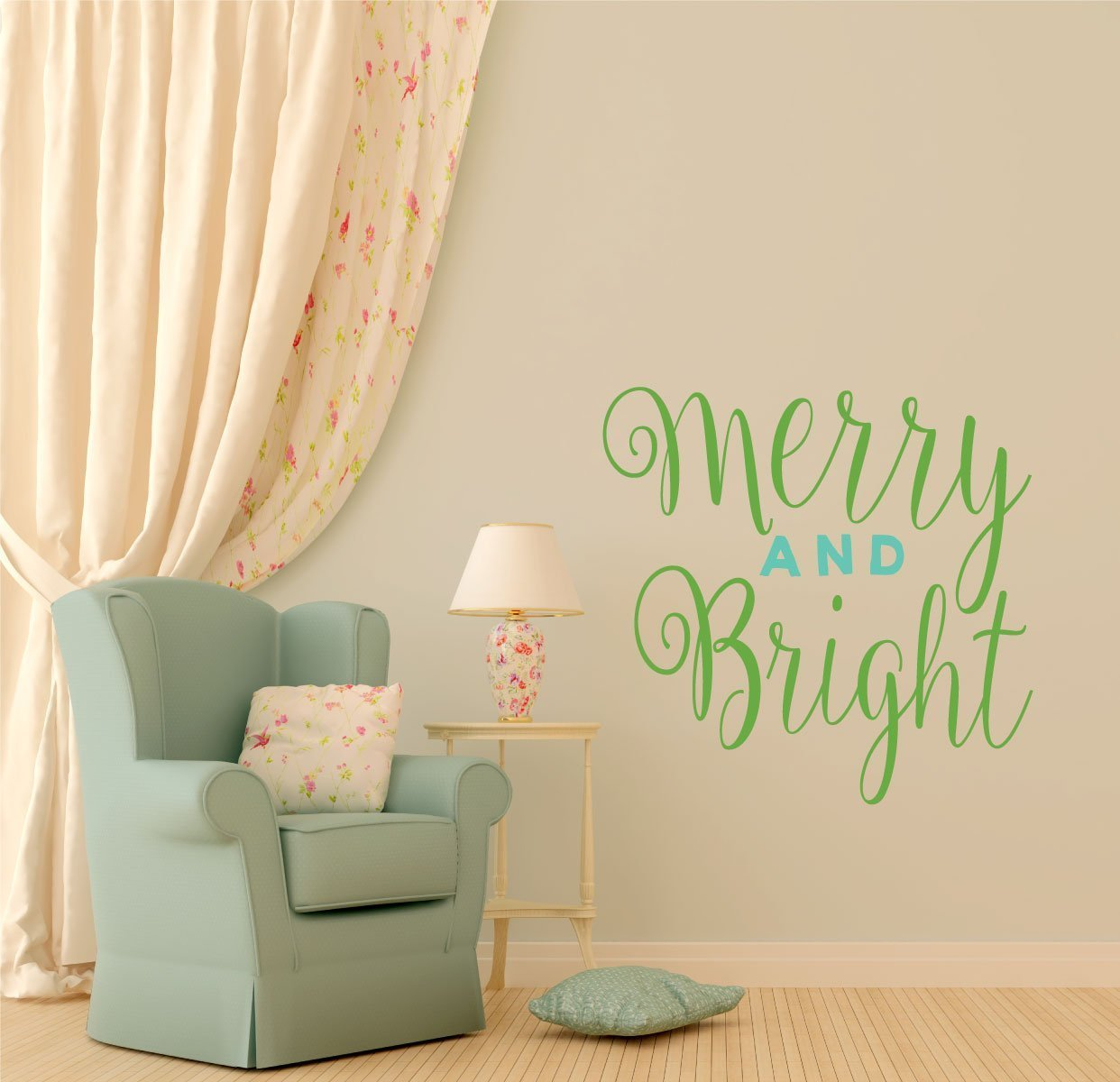 """Wall Decals Christmas Decor """"Merry and Bright"""" Vinyl Lettering for Decorating Home,"""