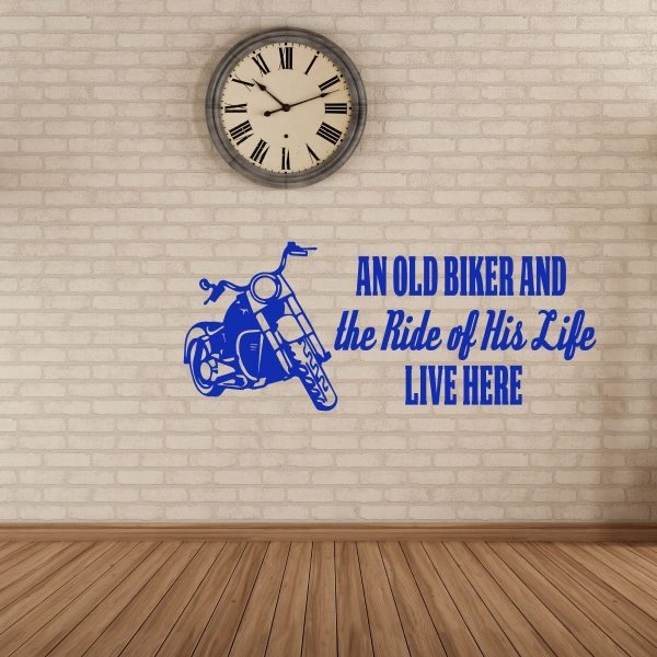 """Harley Davidson Vinyl Decals """"The Ride Of His Life"""" With Motorcycle Image For Home Decor"""
