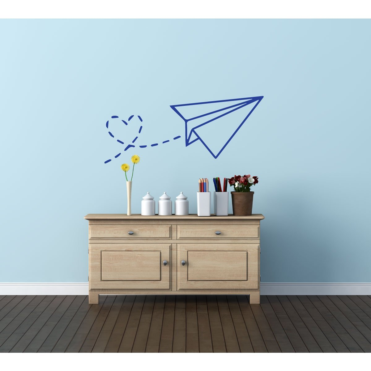 Wall Decals for Kids Rooms - Paper Airplane Vinyl Wall Decor