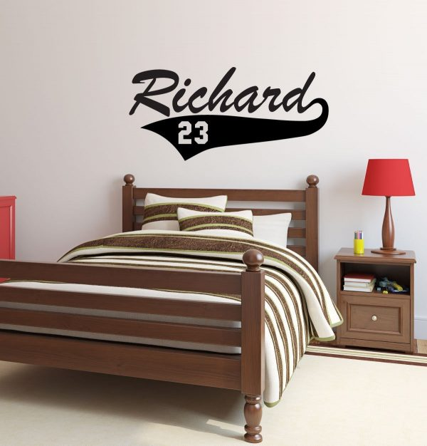 Baseball Player Wall Decals - Personalized Player Name and Number Sports Vinyl Sticker for Bedroom, Locker Room -