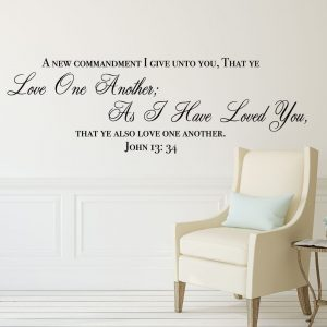 "Bible Verse Wall Decals - John 13:34 Scripture Quote - ""Love One Another"" - , Office, Church"