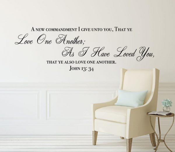 """Bible Verse Wall Decals - John 13:34 Scripture Quote - """"Love One Another"""" - , Office, Church"""