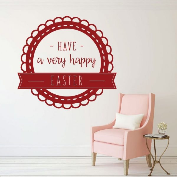Happy Easter - Christian Wall Decor - Vinyl Decal Easter Decorations for your Walls