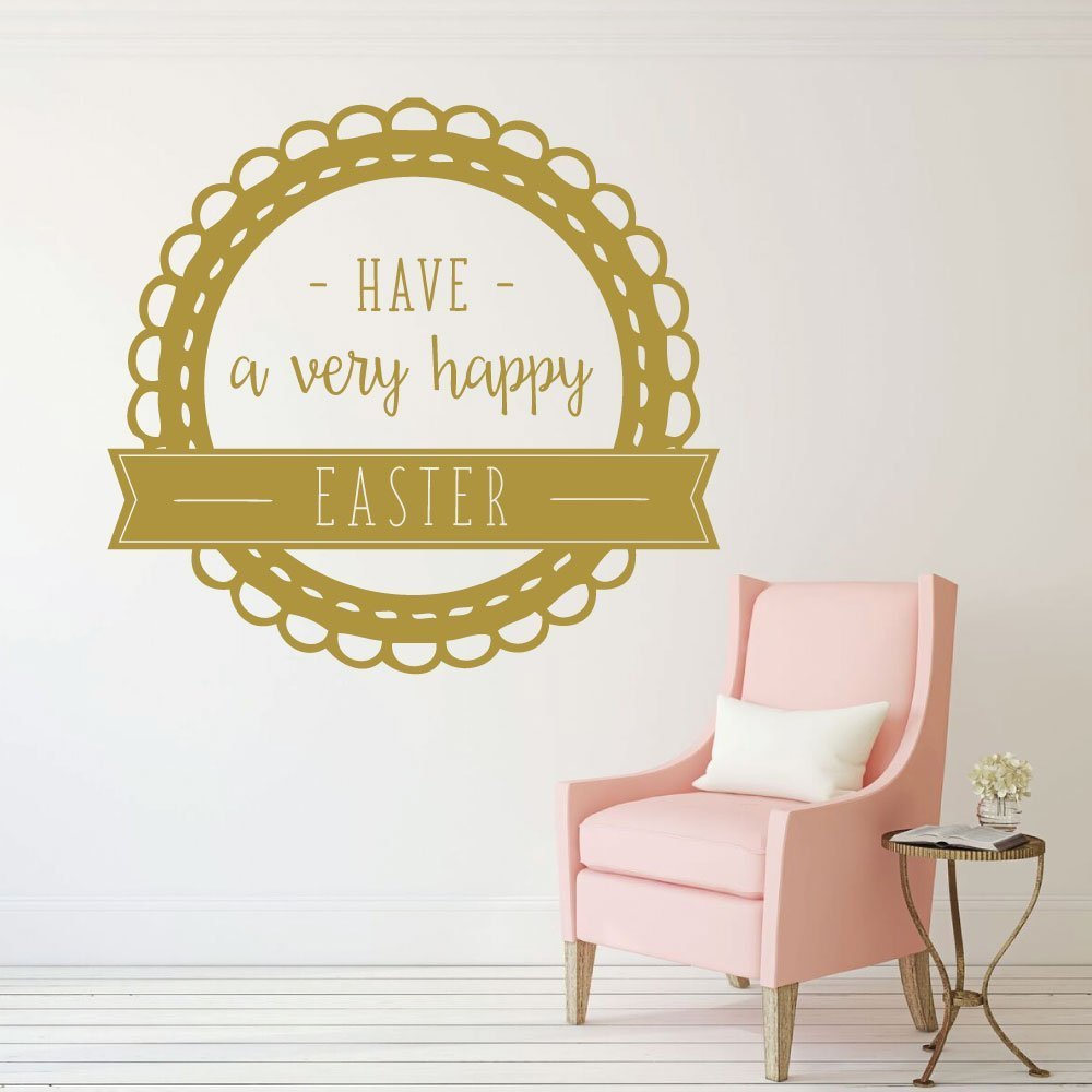 Happy Easter - Christian Wall Decor - Vinyl Decal Easter Decorations ...