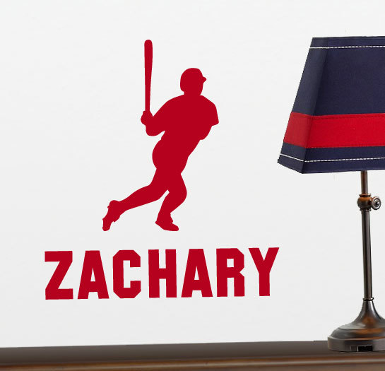Baseball Player Vinyl Wall Decal with Personalized Name for Boys Bedroom, Playroom