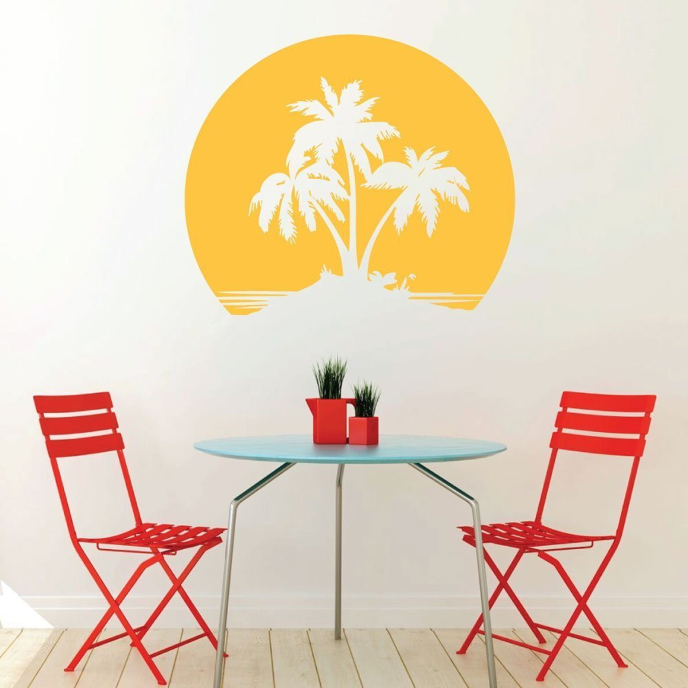 Beach Wall Decal - Palm Trees with a Sunset Backdrop