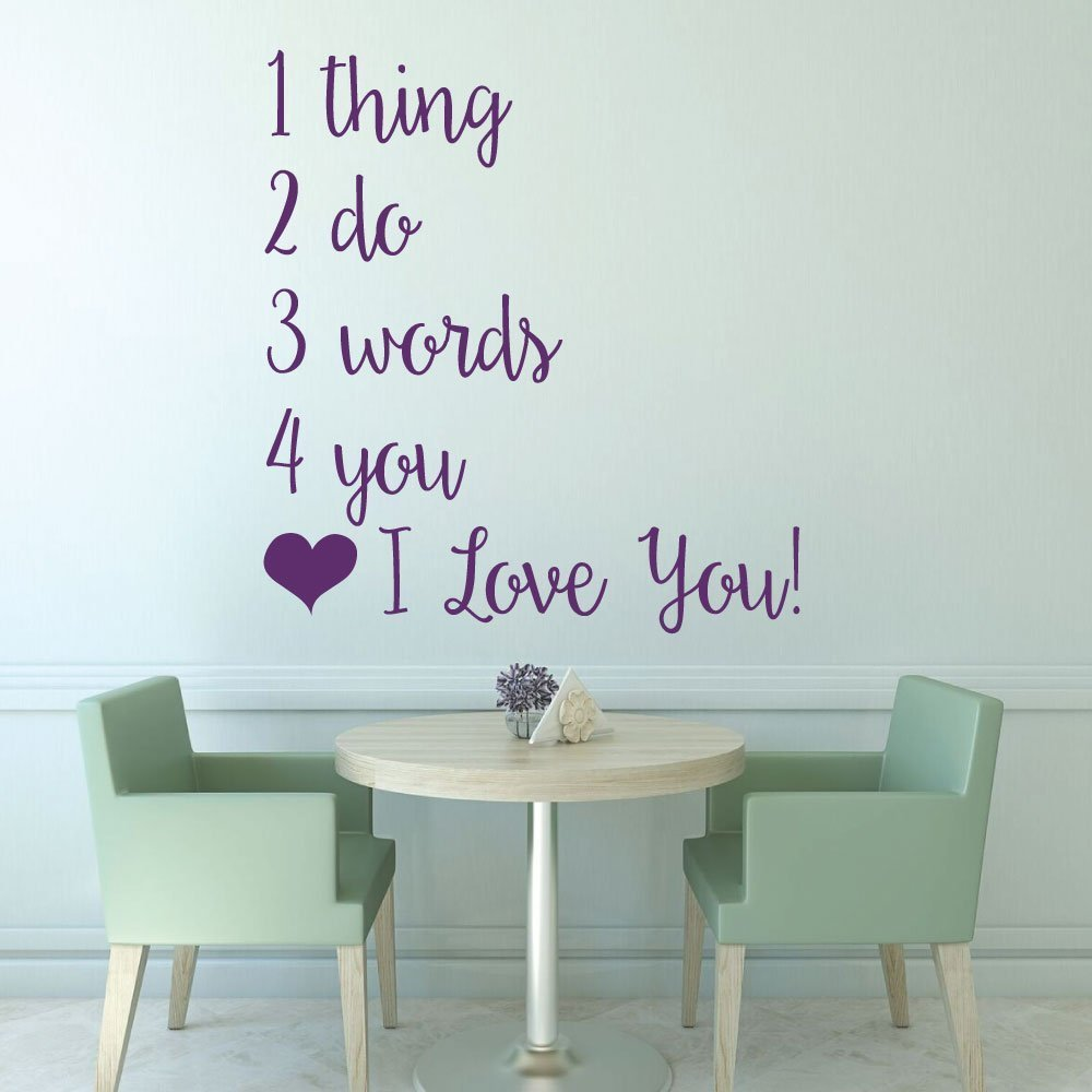 """Song Lyrics Wall Decals - """"One Thing, Two Do, Three Words Four You. I Love You"""