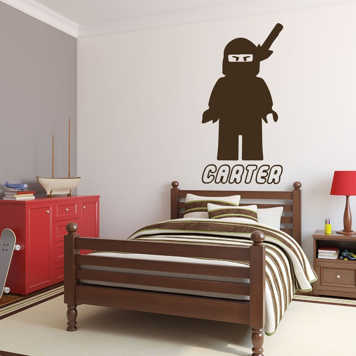 Personalized Wall Decals   Lego Ninjago Samurai With Name Below
