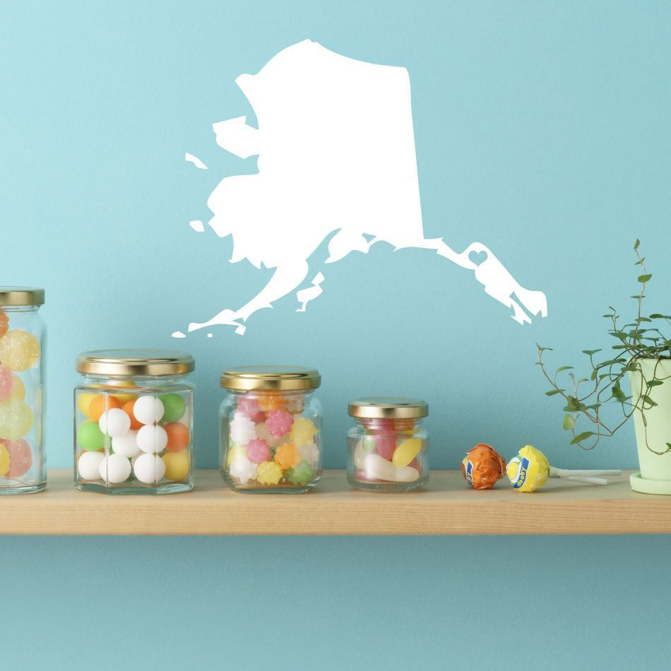 "Alaska Vinyl Wall Decal - Map Silhouette Sticker Decoration of ""Frontier State"" - Juneau Capital Marked with Heart"