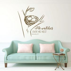 Bible Verse Wall Art - Deuteronomy 32:11 - He Watches Over His Nest - Nature Decals for Walls