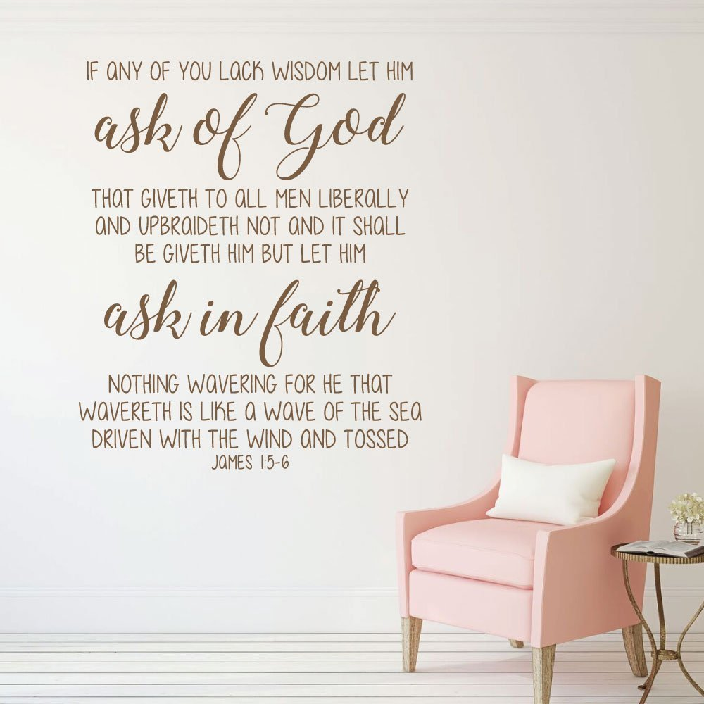 Bible Verse Wall Decal   James 1:5 6   If Any Of You