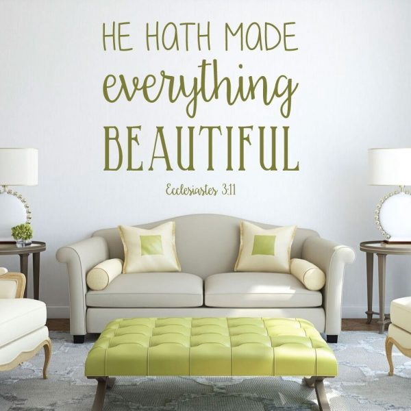 Bible Verse Wall Art - Ecclesiastes 3:11 Wall Decal - He Hath Made Everything Beautiful