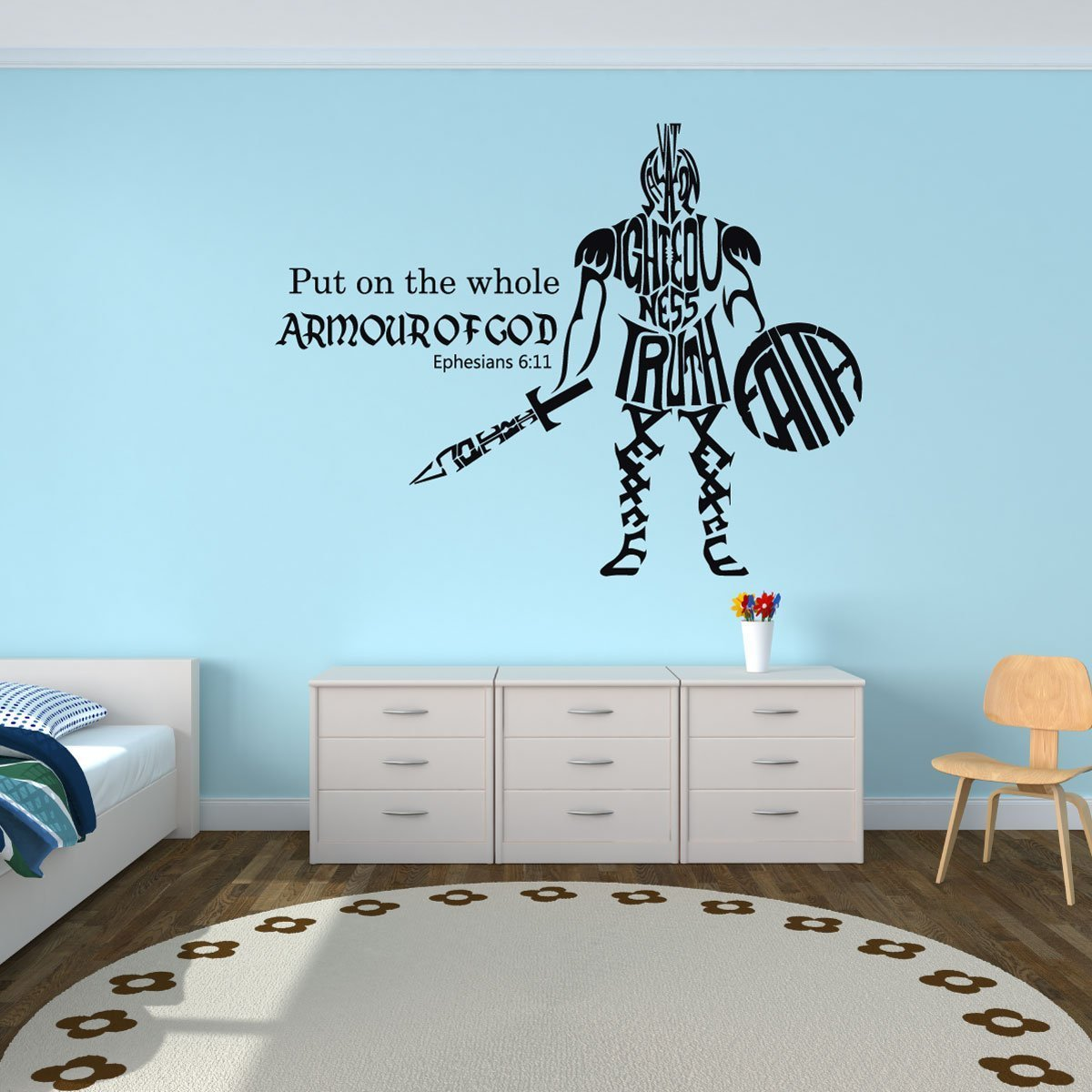 Whole Armor of God - Ephesians 6:11 - Bible Verse Wall Decals, Scripture Wall Art