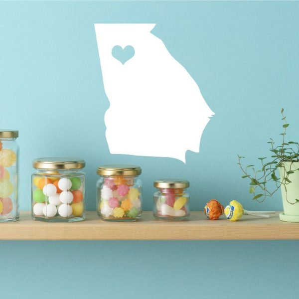 """Georgia State Vinyl Wall Decal - Map Silhouette Sticker Decoration of """"The Peach State"""" - Atlanta Captial Marked With Heart"""