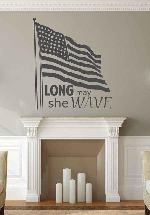 Patriotic Decals - Long May She Wave With American Flag - American Flag